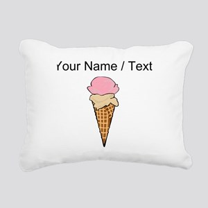Custom Two Scoop Ice Cream Cone Rectangular Canvas