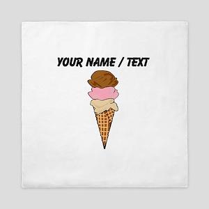 Custom Three Scoop Ice Cream Cone Queen Duvet