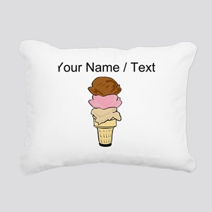 Custom Three Scoop Ice Cream Cone Rectangular Canv