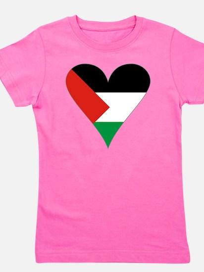 Funky Heart Shaped Palestinian Flag Gra Girl's Tee
