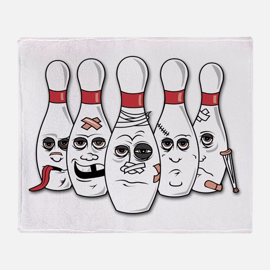 Battered Bowling Pins Throw Blanket
