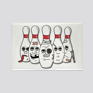 Battered Bowling Pins Rectangle Magnet