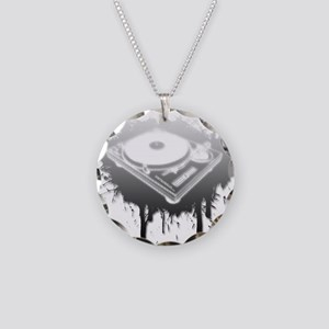 Graffiti Turntable Necklace Circle Charm
