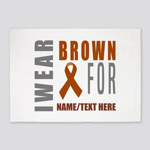 Brown Awareness Ribbon 5'x7'Area Rug