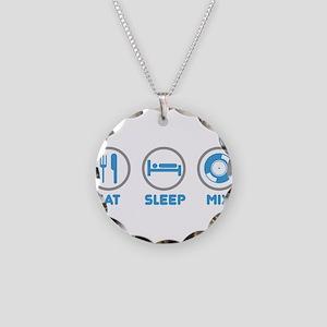 Eat Sleep Mix Again Necklace Circle Charm