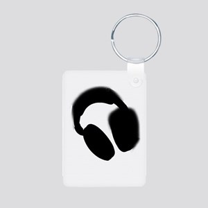 Headphones Aluminum Photo Keychain