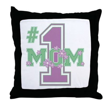 #1 Mom Lilac Throw Pillow