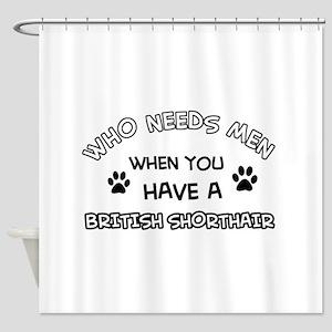 British Shorthair cat design Shower Curtain