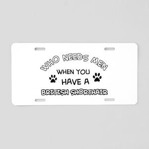 British Shorthair cat design Aluminum License Plat