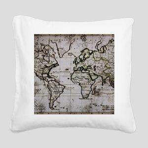 Vintage Map Square Canvas Pillow