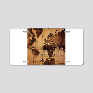 Vintage World Map Aluminum License Plate