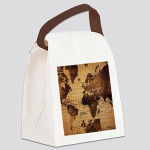 Vintage World Map Canvas Lunch Bag