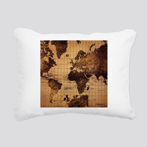 Vintage World Map Rectangular Canvas Pillow