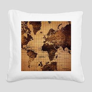 Vintage World Map Square Canvas Pillow