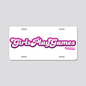 Girls Play Games Aluminum License Plate
