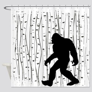 Bigfoot In Birch Shower Curtain