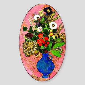Floral painting by Odilon Redon Sticker (Oval)