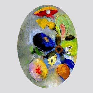 Odilon Redon floral painting: Flower Oval Ornament