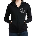 White Peace Sign Zip Hoodie