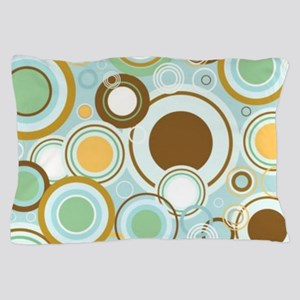 Pillow Case Retro Circles-blue Pillow Case