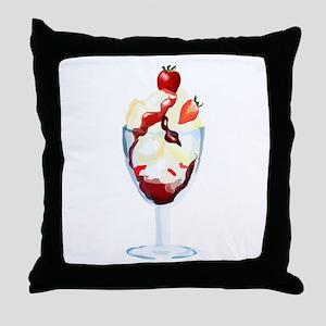 Strawberry Sundae Throw Pillow
