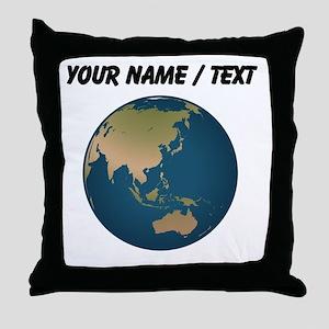 Custom Globe Facing Eurasia Throw Pillow