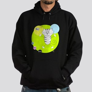 LIME GREEN PINK BLUE KITTY Hoodie