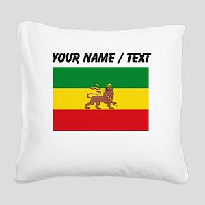 Custom Ethiopian Flag Square Canvas Pillow