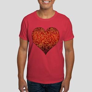 Dark T-Shirt Glitter 4 Heart Red