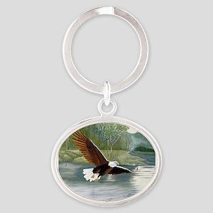 American Bald Eagle Flight Oval Keychain