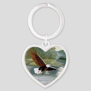 American Bald Eagle Flight Heart Keychain
