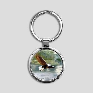 American Bald Eagle Flight Round Keychain