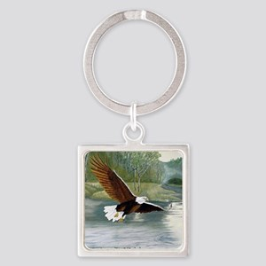 American Bald Eagle Flight Square Keychain