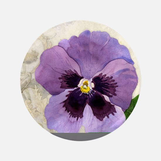 "Purple Pansy Scroll Original Watercolo 3.5"" Button"