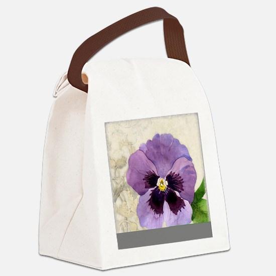 Purple Pansy Scroll Original Wate Canvas Lunch Bag
