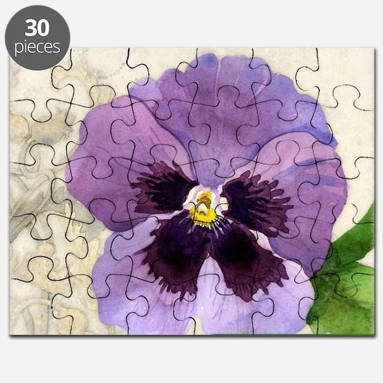 Purple Pansy Scroll Original Watercolor Flo Puzzle