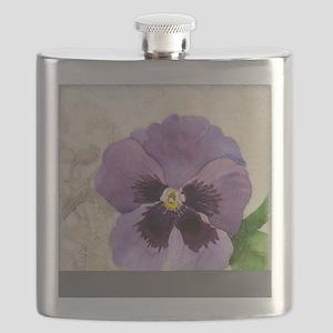 Purple Pansy Scroll Original Watercolor Flow Flask