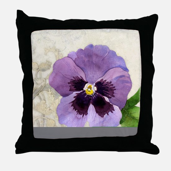 Purple Pansy Scroll Original Watercol Throw Pillow