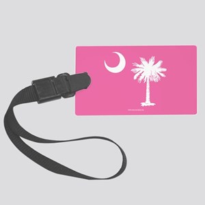 SC Palmetto Moon State Flag Pink Large Luggage Tag