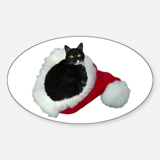 Cat Santa Hat Sticker (Oval)