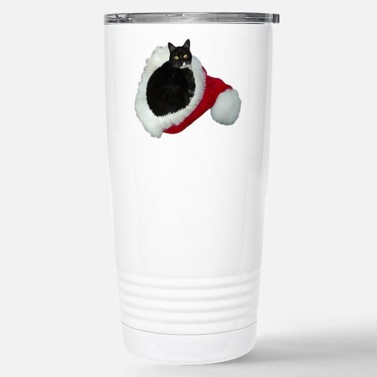 Cat Santa Hat Stainless Steel Travel Mug