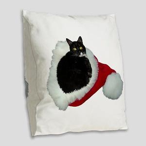 Cat Santa Hat Burlap Throw Pillow