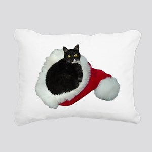 Cat Santa Hat Rectangular Canvas Pillow