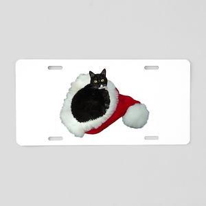 Cat Santa Hat Aluminum License Plate