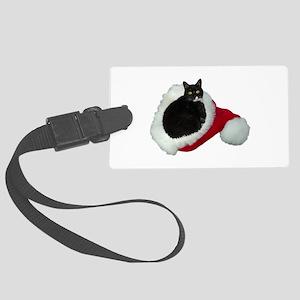 Cat Santa Hat Large Luggage Tag