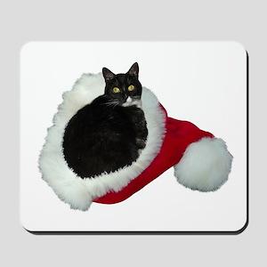Cat Santa Hat Mousepad