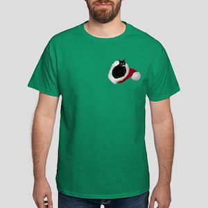 Cat Santa Hat Dark T-Shirt
