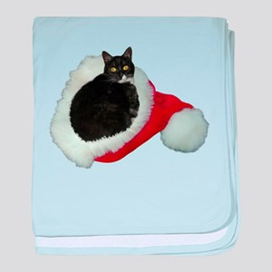 Cat Santa Hat baby blanket