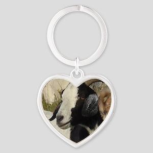 Boer Goat Heart Keychain