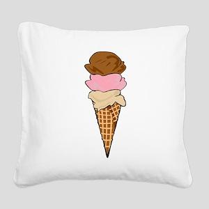 Three Scoop Ice Cream Cone Square Canvas Pillow